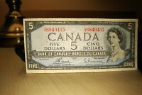 1954 $5 Dollar Bank of Canada Banknote UX6849455 F-VF