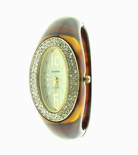 Narmi Watch Rhinestone Bangle Bracelet Hinged