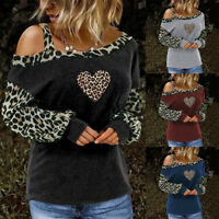 Women's One Shoulder Leopard Long Sleeve T Shirt Casual Blouse Loose Basic Tops