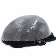 All Poly Skin Mens Toupee Hair Replacement System Hairpieces Human Hair Wig 8x10