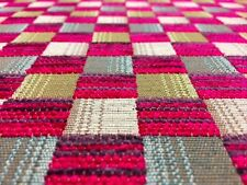 QUALITY DEEP FUCHSIA PINK PURPLE CHECK UPHOLSTERY CURTAIN FABRIC MATERIAL SALE!