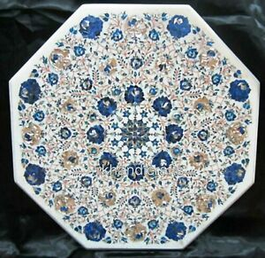30 Inches Marble Kitchen Table Inlay Dinette Table Top with Lapis Lazuli Stone