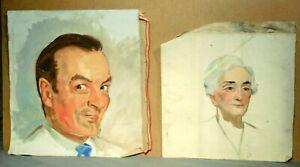 2 WPA Era Oil Painting Portrait Happy Man Gracious Lady Great Depression Vintage