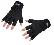New Mens Winter Warm Fleece Lined Black Knitted Thermal Fingerless Work Gloves