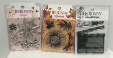 Bo Bunny FLOWERS Movie Fall Autumn Clear Rubber Stamps Set Lot of 3