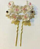 Bridal Hair Accessory Japanese Kanzashi Hair Fork Stick in Cherry Blossom Floral