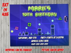 Geometry Dash Digital Invitation, Party, Birthday, Invite, evite, Video Games