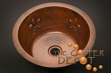 ROUND COPPER HAMMERED BAR PREP SINK WITH FLEUR DE LIS