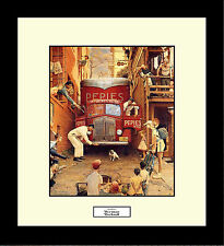 Norman Rockwell ROADBLOCK Framed Dog Delivery Truck Service Wall Art Gift