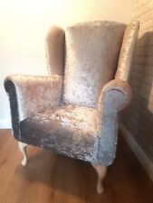 Crushed Velvet High Chair Queen Anne UK MADE wing back