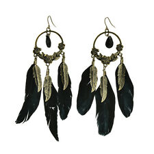 Lovely Black Feather Bronze Leaf Charm Light Dangle Earrings Drop Earrrings MW