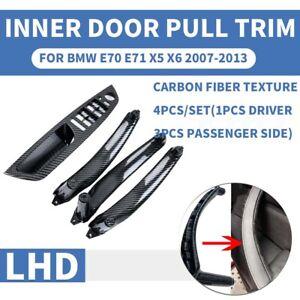 LHD Carbon Fiber Inner Interior Door Pull Handle Trim Cover For BMW X5 X6 E70E71