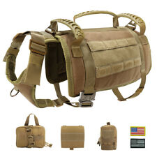 POLICE Working Dog Harness No Pull MOLLE K9 Training Vest With Pouch Pitbull M/L