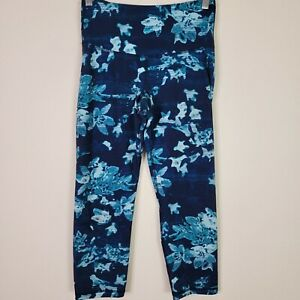 Old Navy Active Women's Go Dry Floral Workout Leggings Size Small Tall Teal