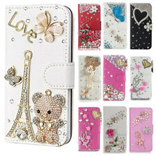 3D Nice Flip Bling Wallet Stand Case Crystal PU Leather Cover For MOTO & straps