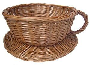Wicker Tea Cup Basket Novelty Gift Hamper Coffee Shop Afternoon Tea Display 30cm
