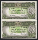 R-34b. (1961) One Pound.. Coombs/Wilson.. Reserve Bank.. aU-UNC - CONSEC Pair