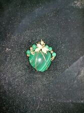 Malachite and Pearl Heart Pendant wrapped in 14k Gold Wire Beautiful Color