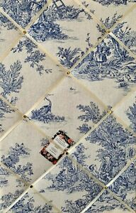 SALE French Toile De Jouy Handcrafted Fabric Notice Pin Memo Photo Memory Board