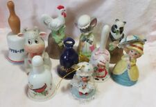 Vintage Ceramic Bells Critters Jasco Cow Chicken Panda Cardinal Mouse Lot of 10