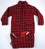 Vintage Woolrich Red Black Buffalo Plaid Wool Hunting Jacket Pants Suit Mens 40