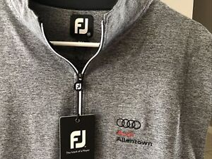 NWT Footjoy Gathered Waist Half-Zip Pullover Golf Vest, Charcoal Heather Audi XL