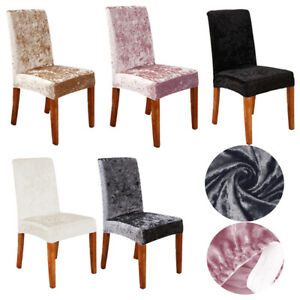 Crushed Velvet Stretch Dining Chair Covers Protective Slipcover Home Decor UK