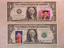 Elvis Presley and Marilyn Monroe First Day Stamps on $1 Bills  FRN Dollar