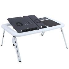 More details for adjustable portable folding laptop table notebook stand bed tray desk usb cooler