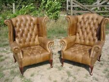 Pair Of Chesterfield Queen Anne Wingback Chairs In Vintage Tan Leather