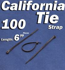 """100 X pcs Black 6"""" Tie Cord Strap 150mm Network Nylon Plastic Cable Wire Zip"""