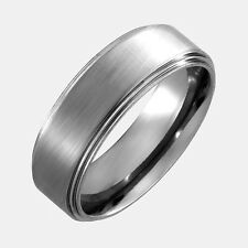 Titanium Ring Flat Top Brushed Center Stepped Edges 8mm Width Size 6.5