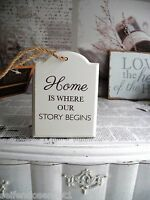 HOME our Story shabby chic Schriftzug Holzschild Schild Schrift Spruch weiß Holz