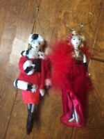 """2 Vintage 1970s Woman Christmas Ornament 8"""" Tall Red coats boots Hanging Tree"""