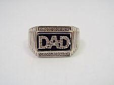 Vintage Sterling Silver & Black Tone Diamond Men's DAD Ring, size 10.5