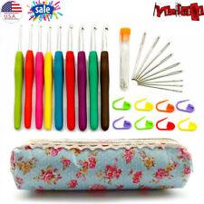 30pcs Crochet Hooks Kit Yarn Knitting Needles Sewing Tool Ergonomic Grip Bag New