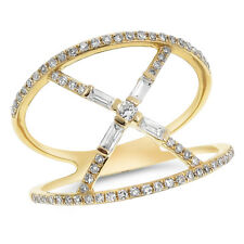 Cocktail Crossover Baguette Right Hand Ring 14K Yellow Gold Pave Round Diamond