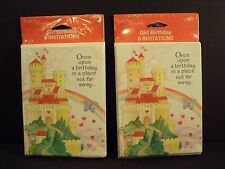 Vtg Lot 2 SEALED Once Upon a Birthday CASTLE Princess PARTY INVITATIONS Rainbow