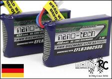 2x Turnigy nano-tech 450mAh 2S 65C -130C NEU Lipo Akku 7,4V Blade 130X