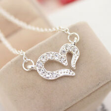 Chain Rhinestone Crystal Gift Necklace Hot Heart Jewelry Women Alloy Pendant t