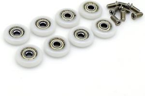 Roulettes pour porte de douche diamètre 23mm, lot de 8, avec vis M5