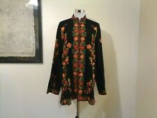 Vintage Made In Kashmir India Black Wool Orange/Green Floral Embroidered Jacket