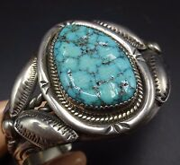 Signed Vintage NAVAJO Sterling Silver & TURQUOISE Cuff BRACELET Stamped Repoussé
