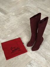 Christian Louboutin Burgundy Suede Knee Boots Size 38 (UK Size 5)