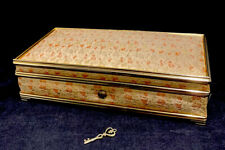 Vintage 50's Pink Gold Metallic Brocade Locking Music Jewelry Box La Vie En Rose