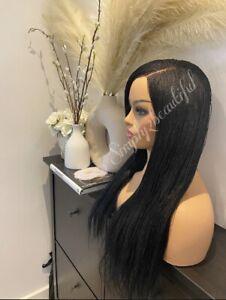 Hand Braided Wig - Micro Braid Lace Wig : Million Braids  : Colour Black
