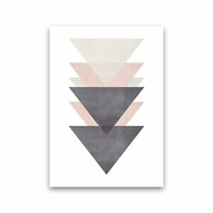 Cotton, Pink And Grey Abstract Triangles Modern Print