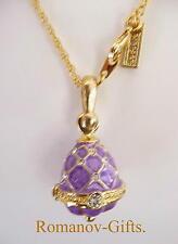 Russian Princess Anastasia Royal Lilac Faberge EGG PENDANT Romanov Necklace