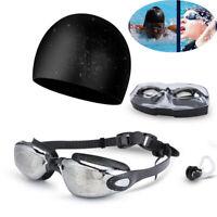 1 Set UV Anti-Fog Swimming Goggles Swim Cap Ear Plug Nose Clip Adult Men Women