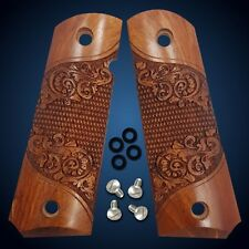 1911 Grips Full Size Custom Scroll Solid Rosewood Colt Sig Kimber Springfield